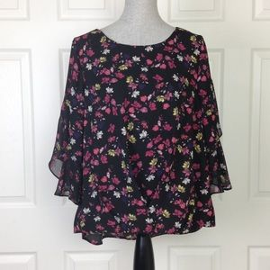 Vince Camuto Black/Floral Print Bell Sleeve Top